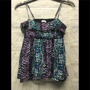 Candies tank blouse purple blue multicolor